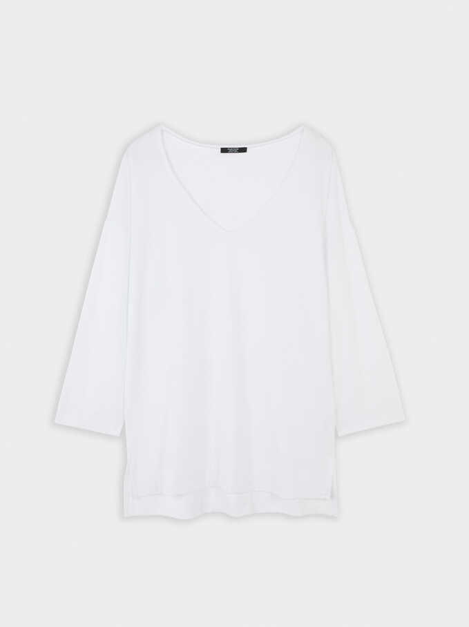 V-Neck T-Shirt, White, hi-res