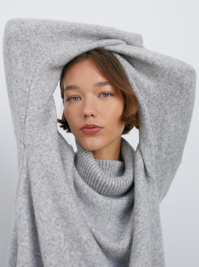 High-Neck Knit Sweater, Grey, hi-res