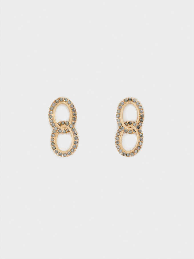 Medium Earrings With Crystals , Multicolor, hi-res