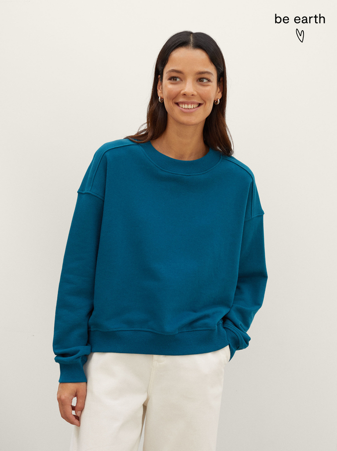 100% Cotton Sweatshirt, Green, hi-res