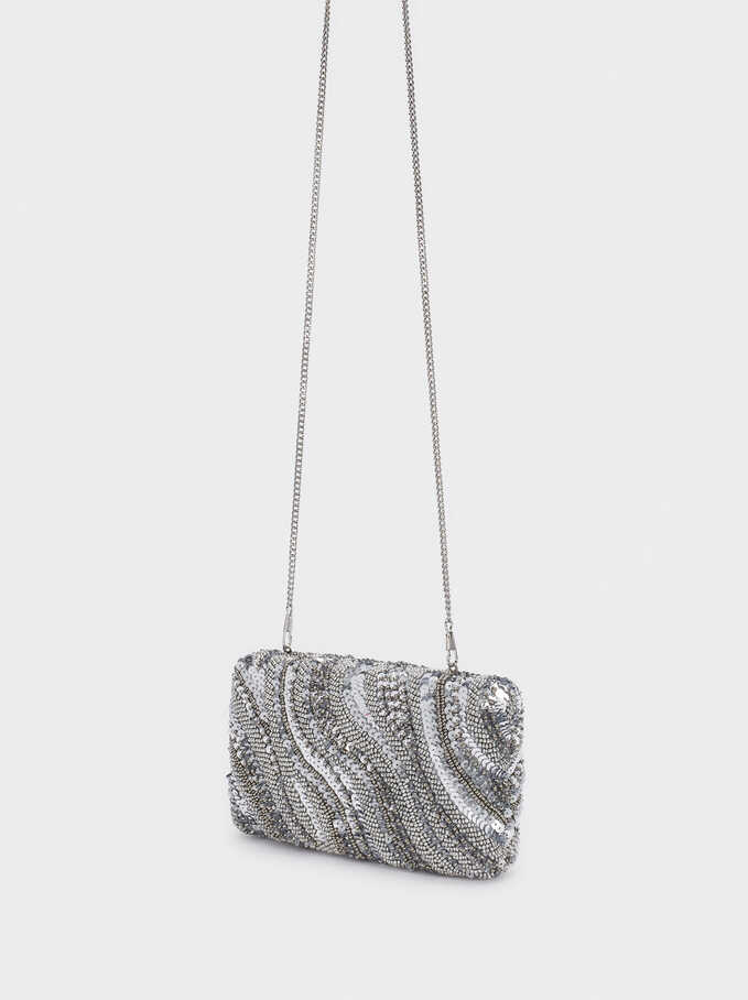 Beaded Party Clutch With Chain Necklace, Silver, hi-res