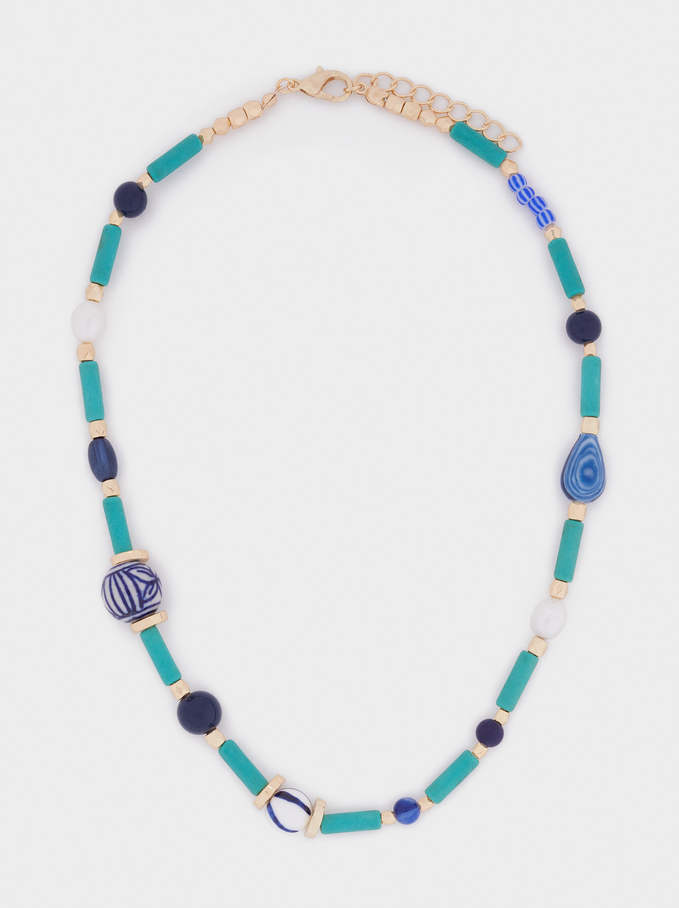 Short Necklace With Stones And Pearls, Blue, hi-res