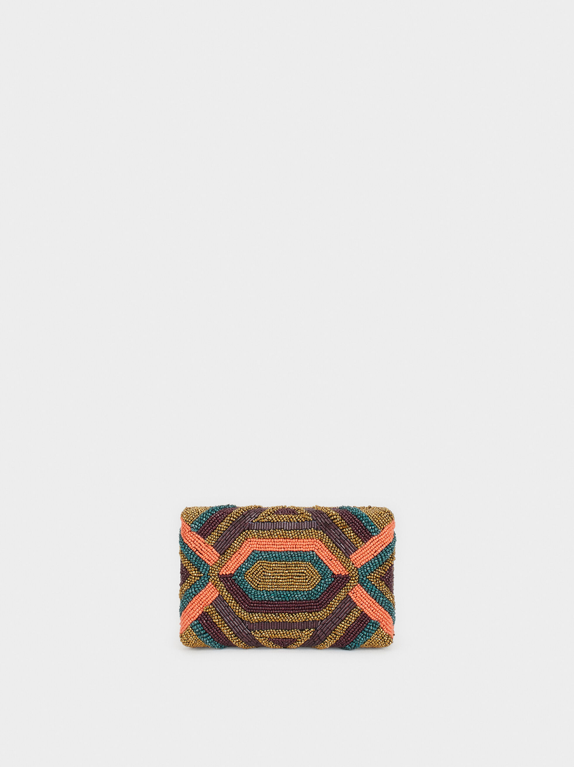 Multicoloured Beaded Party Clutch, Bordeaux, hi-res