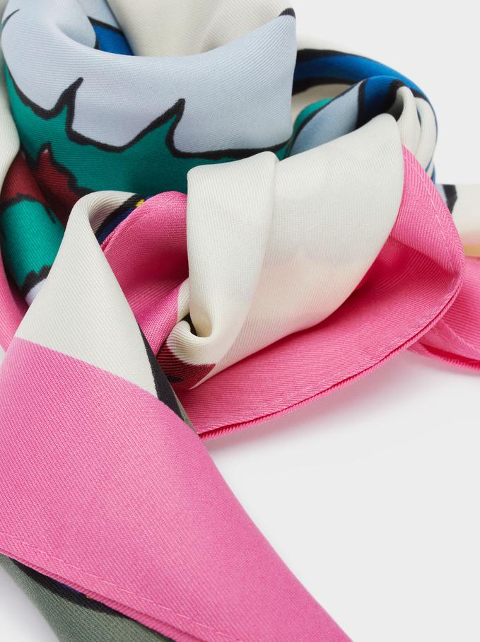 Pañuelo Cuadrado Estampado Fabricado Con Materiales Reciclados, Multicor, hi-res