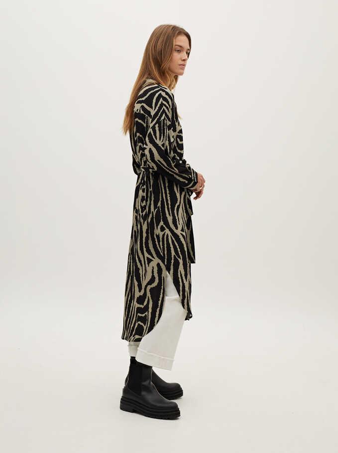 Animal Print Shirt Dress, Green, hi-res