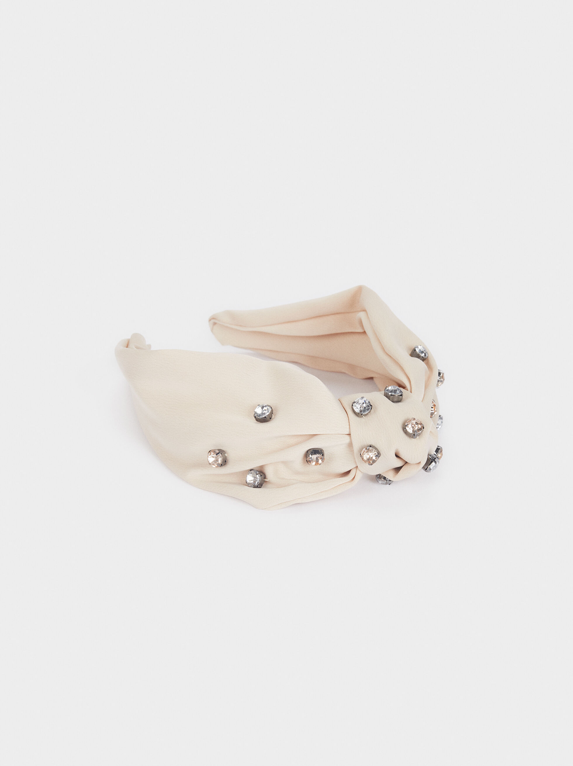 Knotted Furry Headband, Beige, hi-res