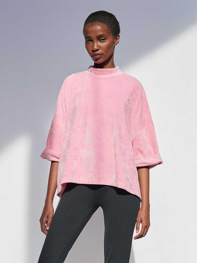 Plain Oversized Sweater, Pink, hi-res