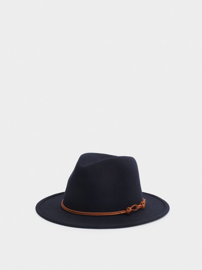 Woollen Hat With Contrast Band, Navy, hi-res