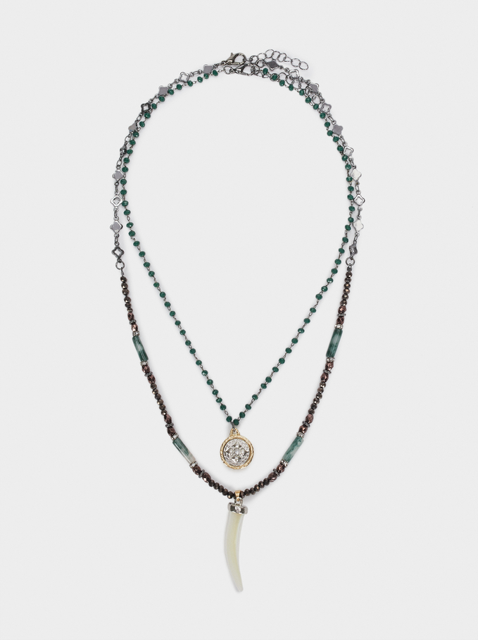 Short Necklace With Horn And Multicoloured Gemstones, Multicolor, hi-res