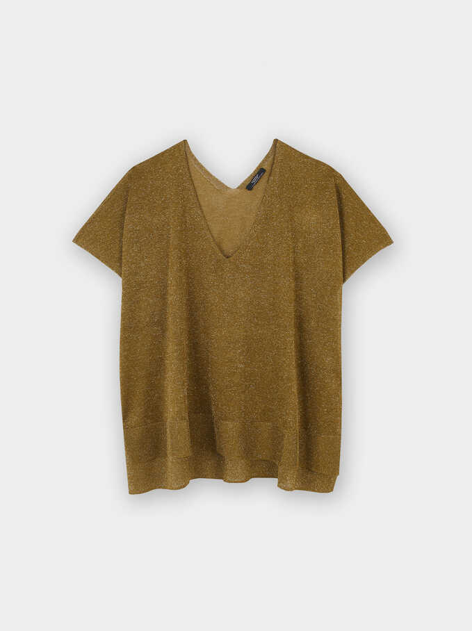 V-Neck Fine-Knit Sweater, Mustard, hi-res