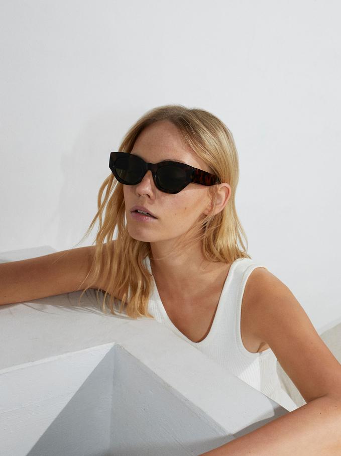 Gafas De Sol Cat Eye, Marrón, hi-res