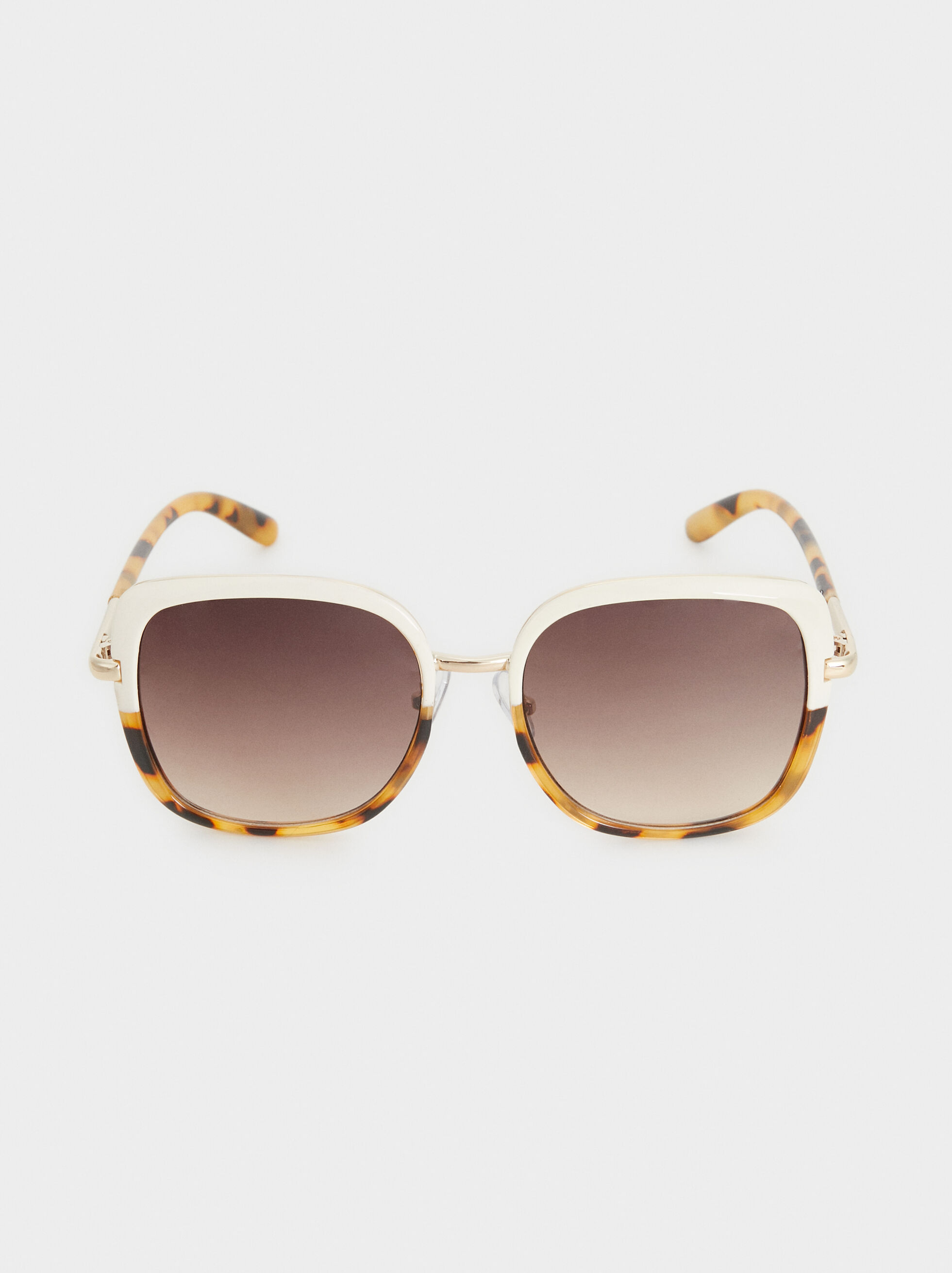 Tortoise Shell Sunglasses With Metal Detail, White, hi-res