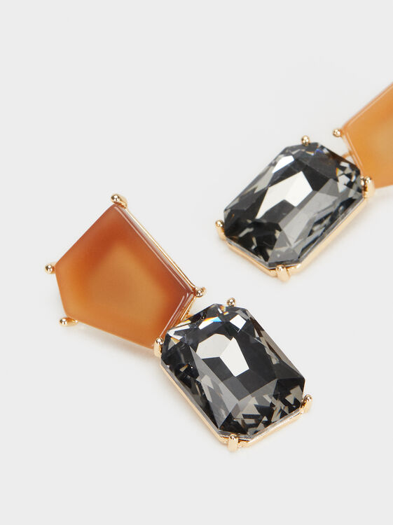 Medium Earrings Exclusive Collection, Brown, hi-res