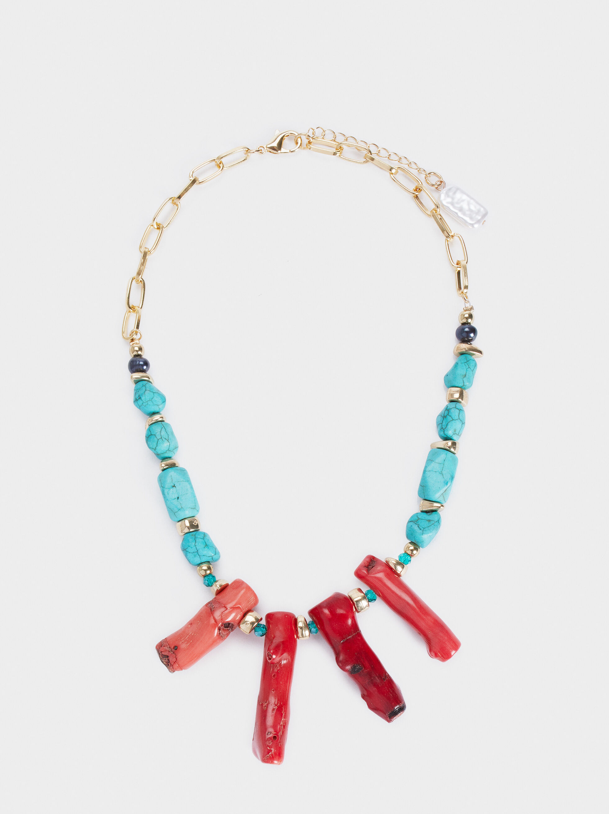 Recife Short Necklace With Coral Beads, Multicolor, hi-res