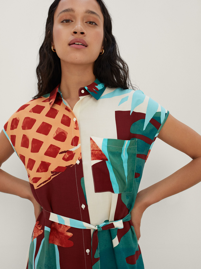 Printed Shirt Dress With Belt, Ecru, hi-res
