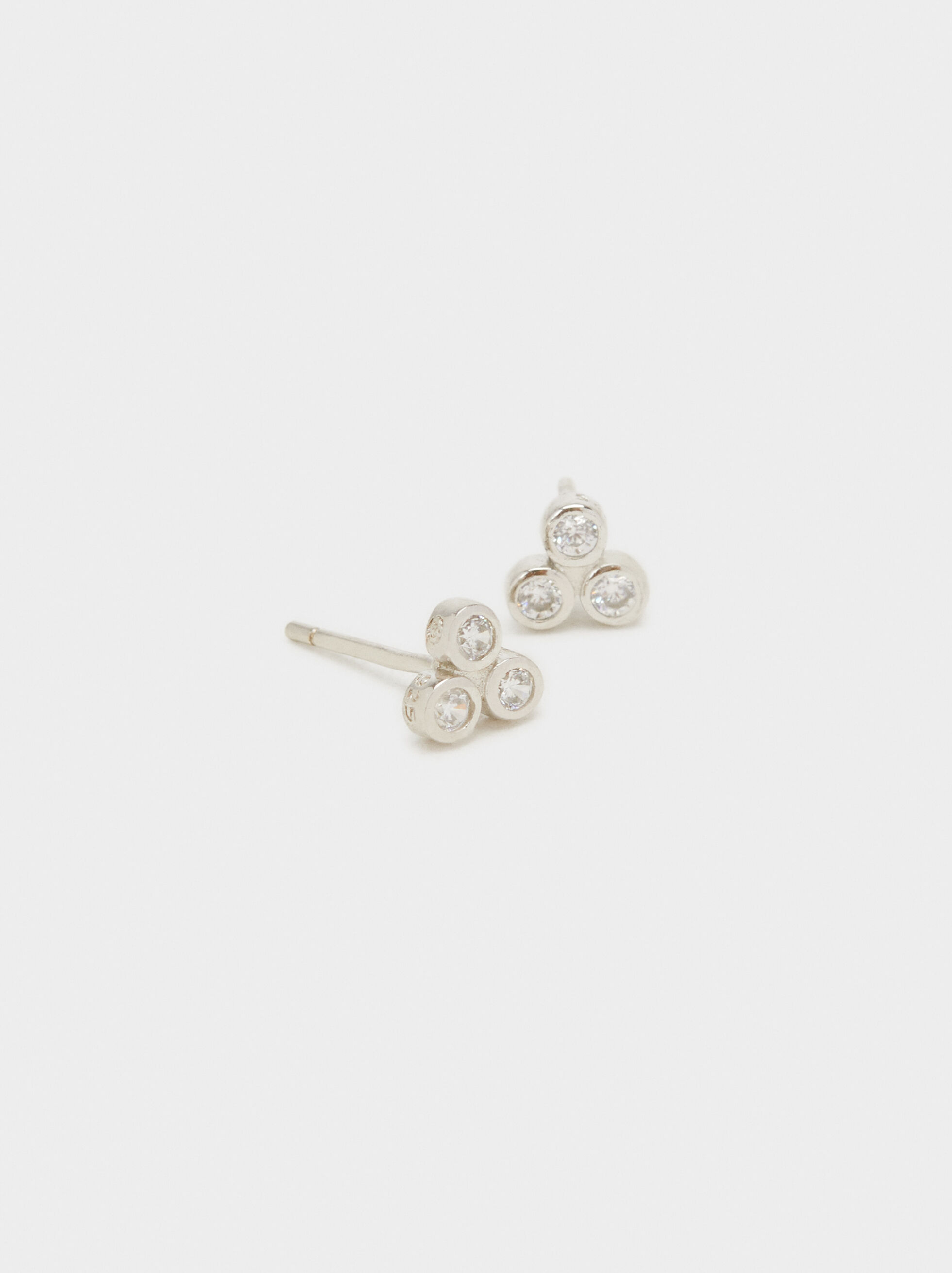 925 Silver Stud Earrings With Rhinestones, Silver, hi-res