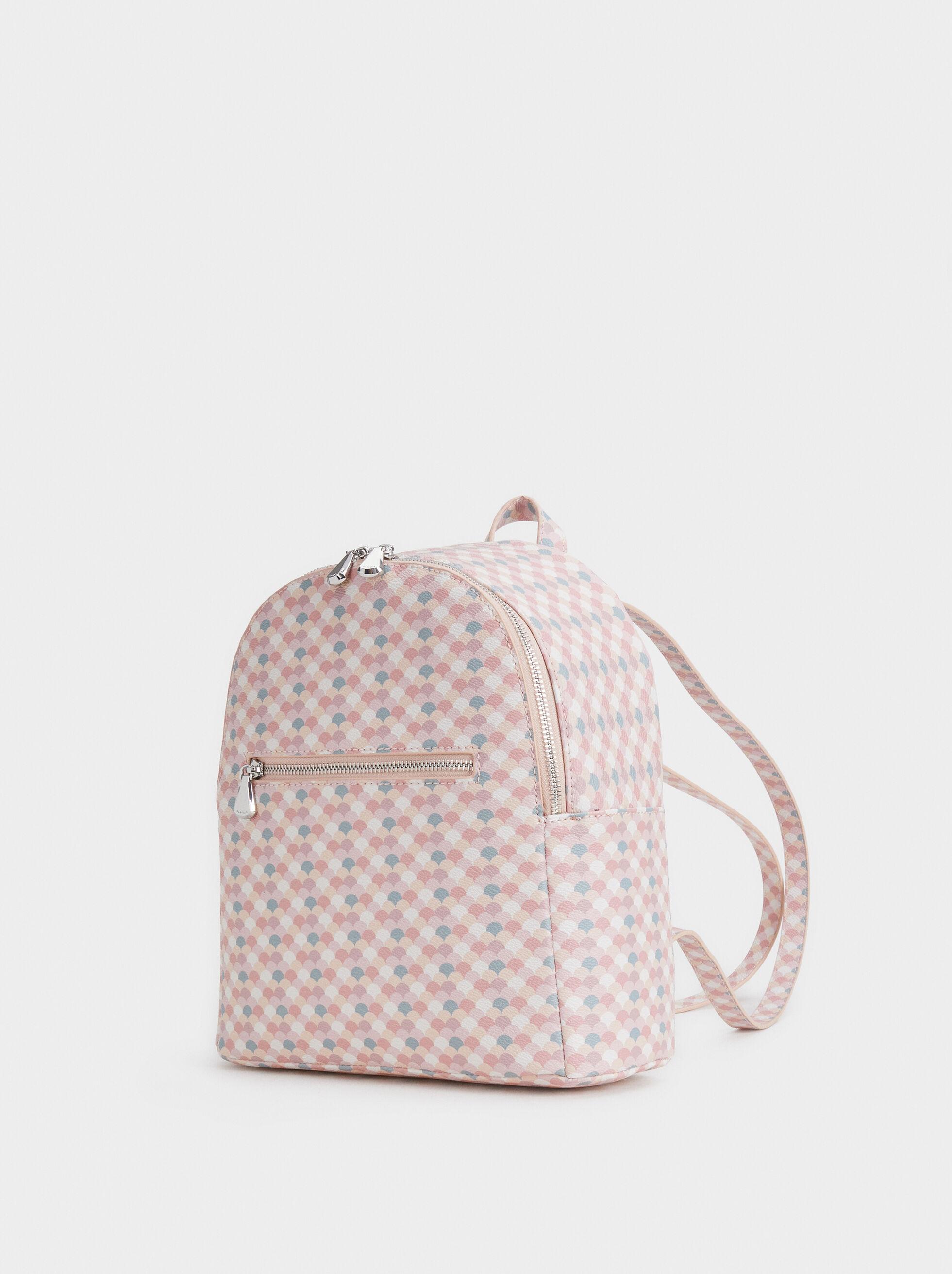 Printed Backpack, Pink, hi-res