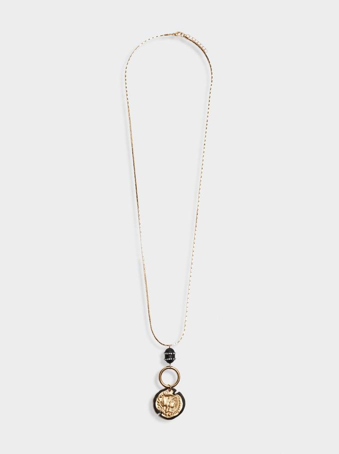 Long Necklace With Pendant, Black, hi-res