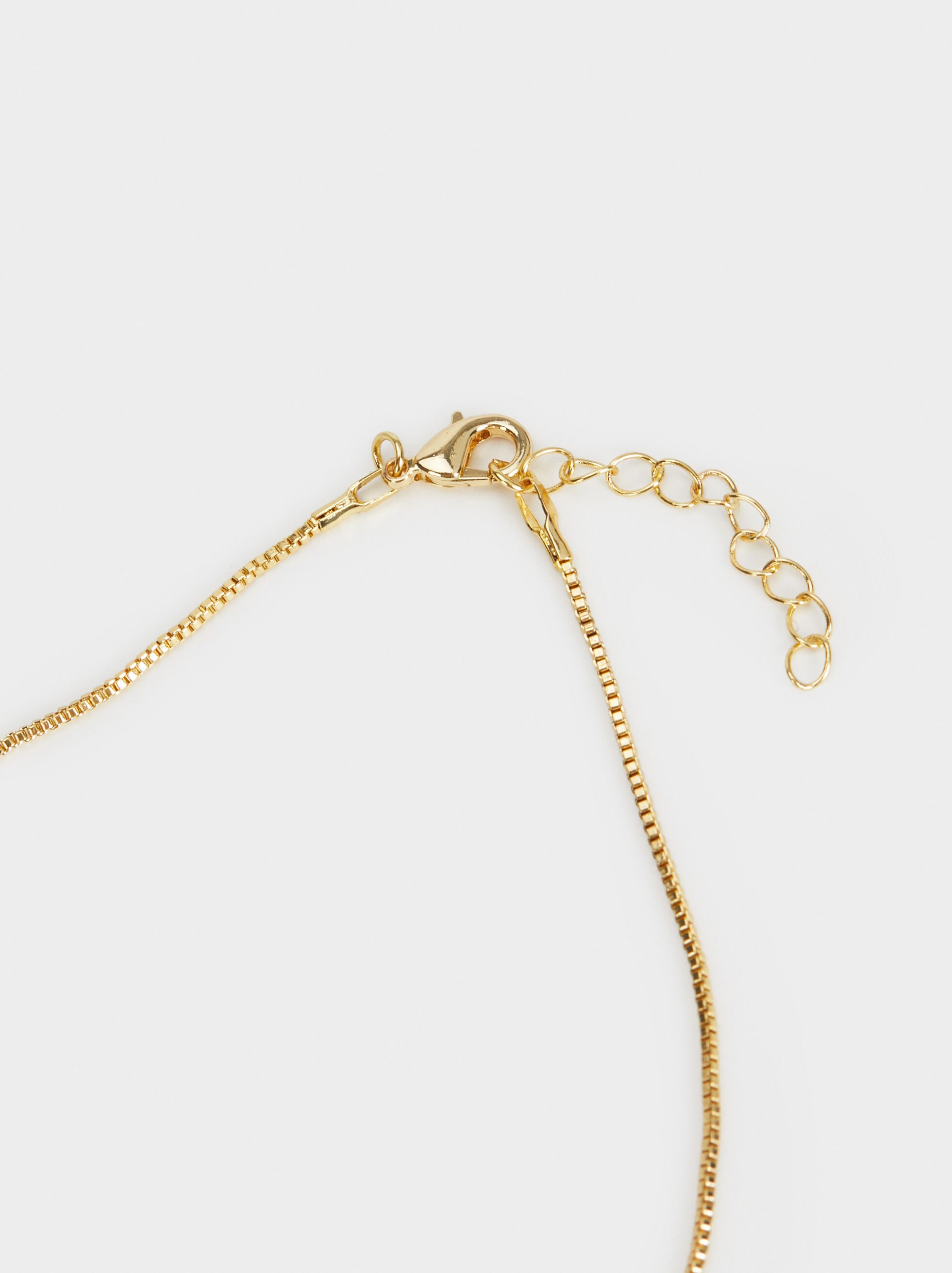 Short Necklace With Pearl Bead, Golden, hi-res