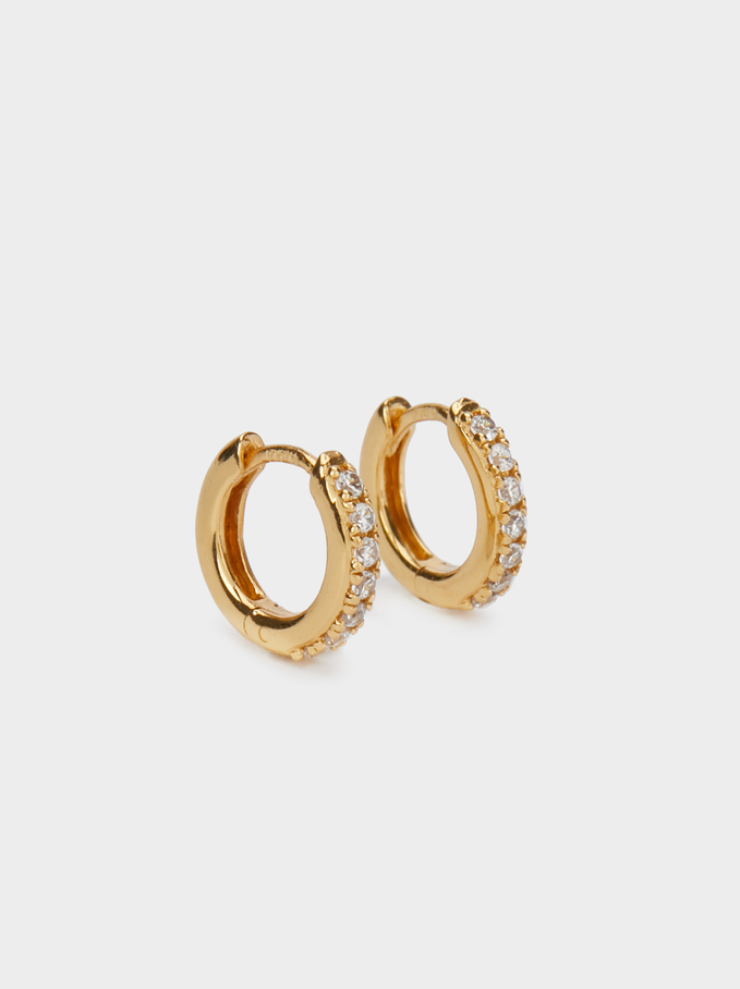 925 Silver Short Hoop Earrings With Zirconia, Golden, hi-res