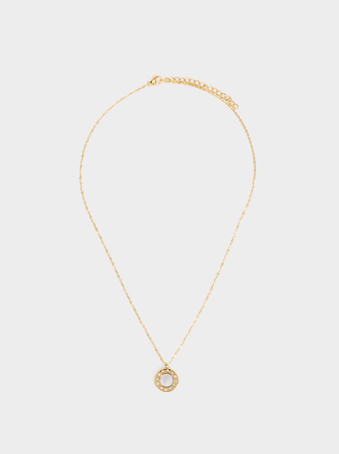 Diamanté Steel Necklace, Golden, hi-res