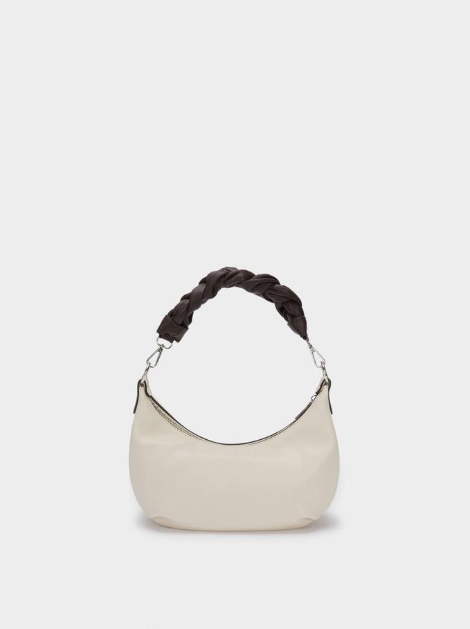 Shoulder Bag With Braided Handle, Ecru, hi-res