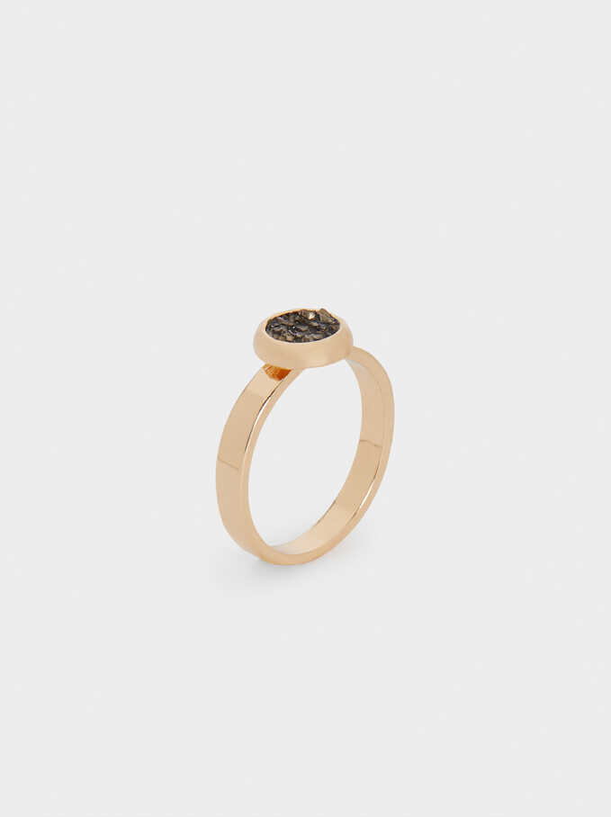 Ring With Crystals, Brown, hi-res