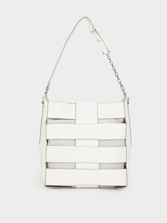 Faux Leather Bucket Bag, White, hi-res