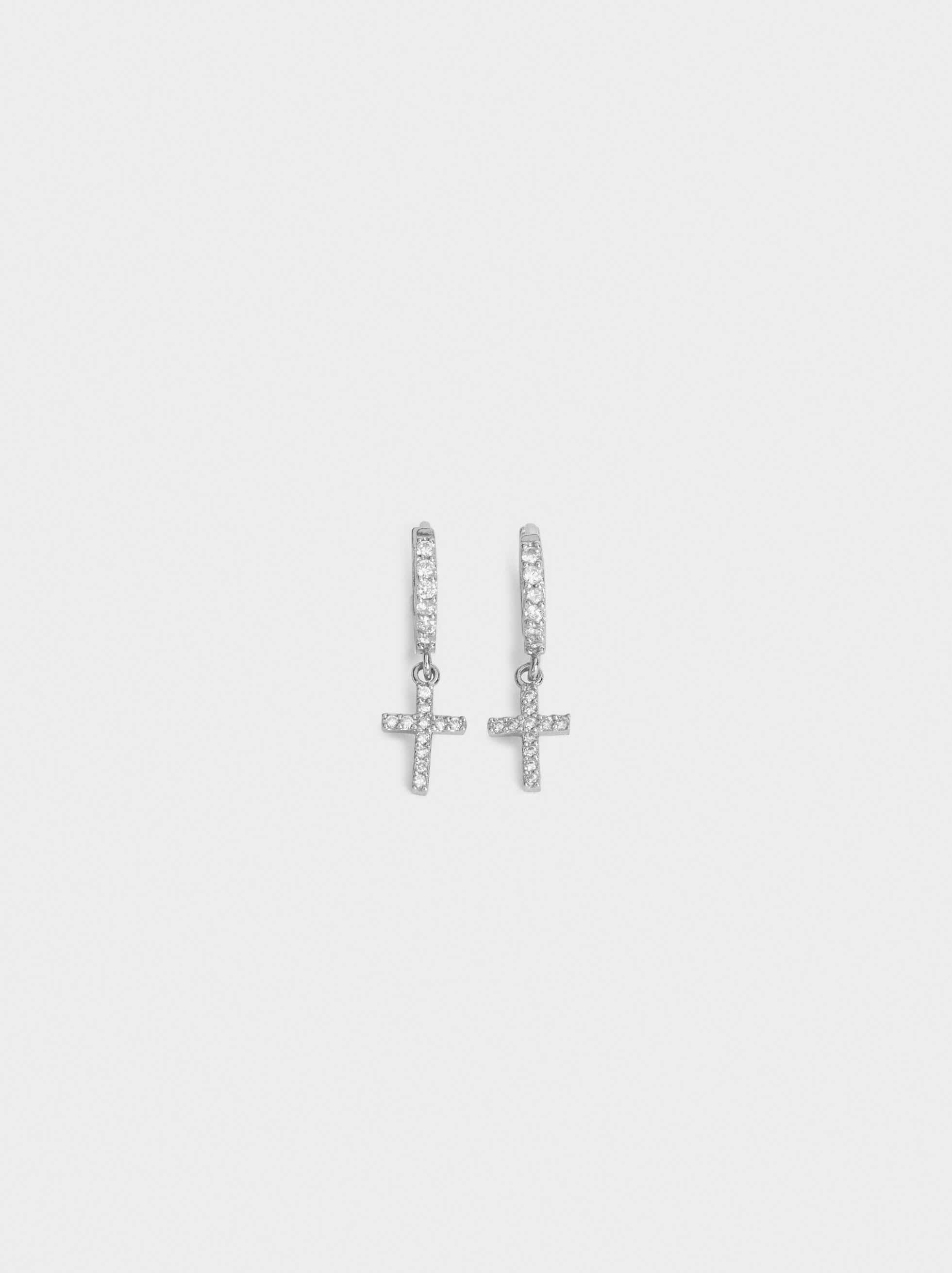 Small 925 Silver Hoop Earrings With Cross, Silver, hi-res