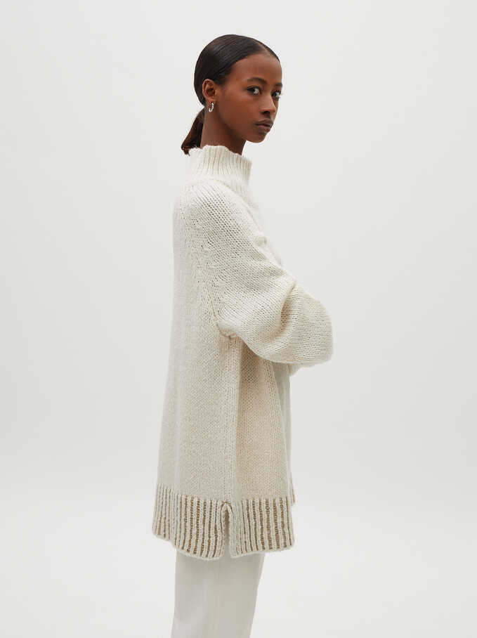 Knitted High Neck Sweater, Ecru, hi-res