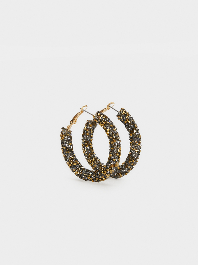 Medium Rhinestone Hoop Earrings, Golden, hi-res