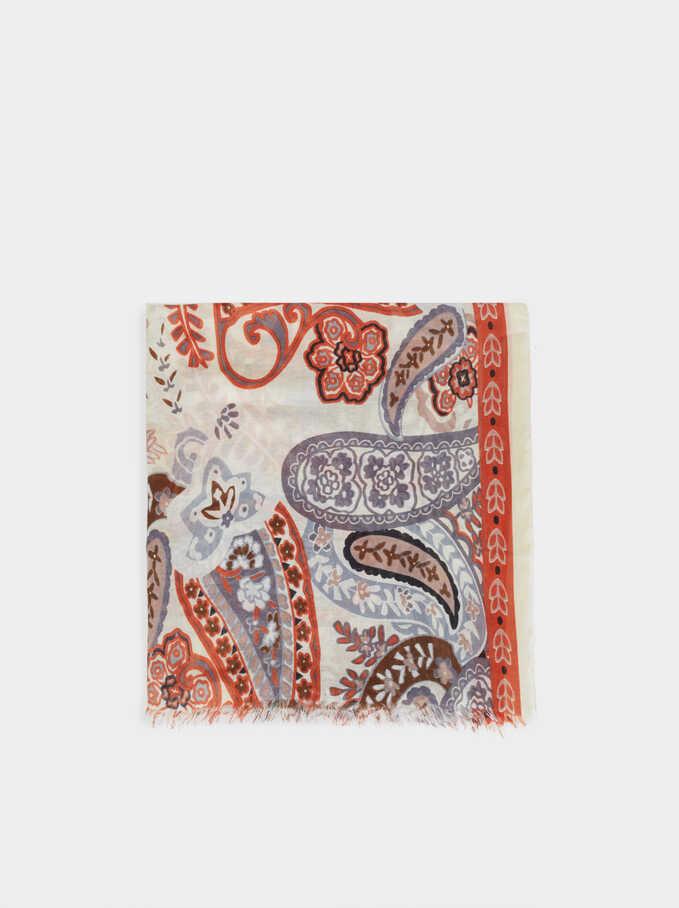 Pañuelo De Algodón Estampado Paisley, Gris, hi-res