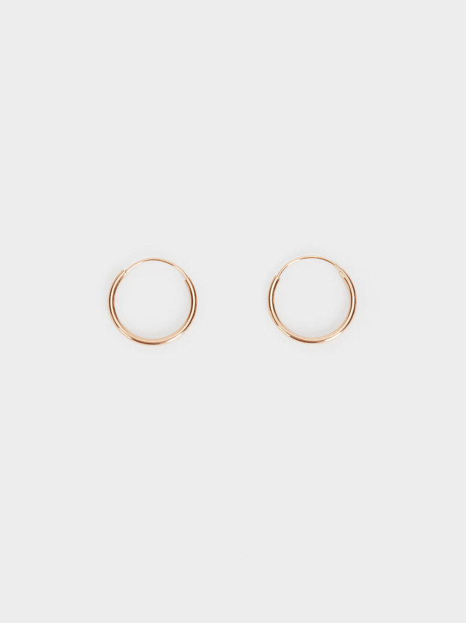 Basic 925 Silver Small Hoop Earrings, Orange, hi-res