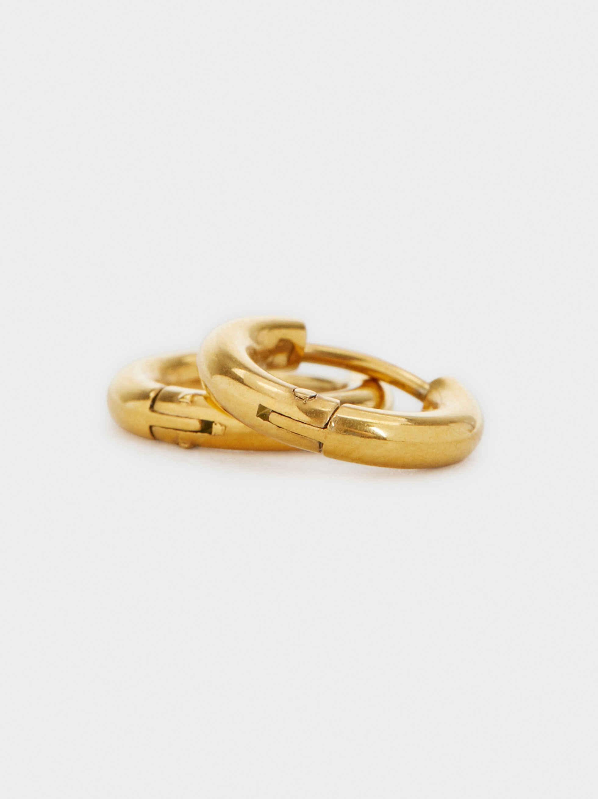 Basic Small Steel Hoop Earrings, Golden, hi-res