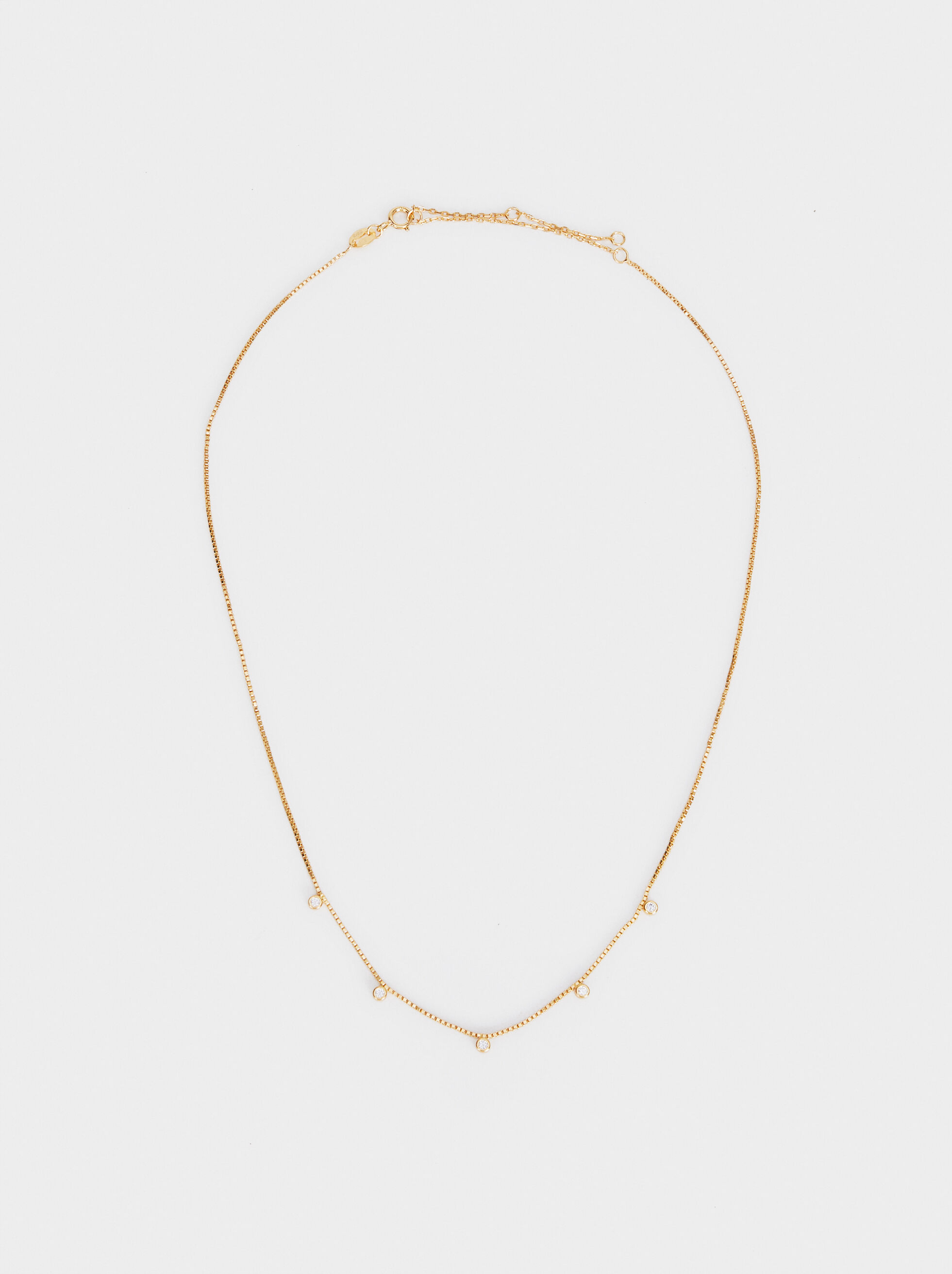 Short 925 Silver Necklace With Rhinestones, Golden, hi-res