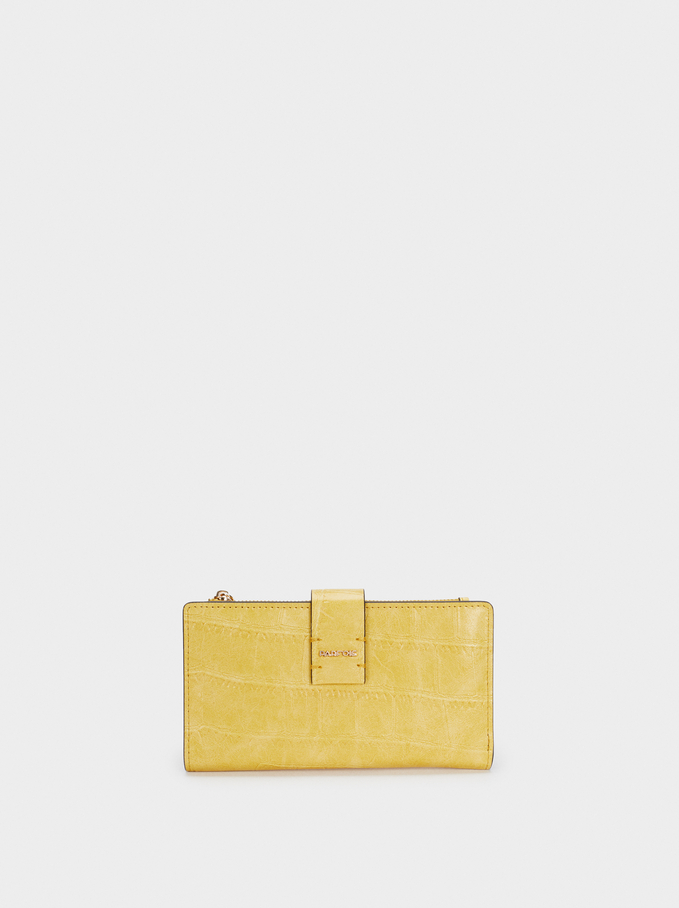 Embossed Animal Print Wallet, Yellow, hi-res