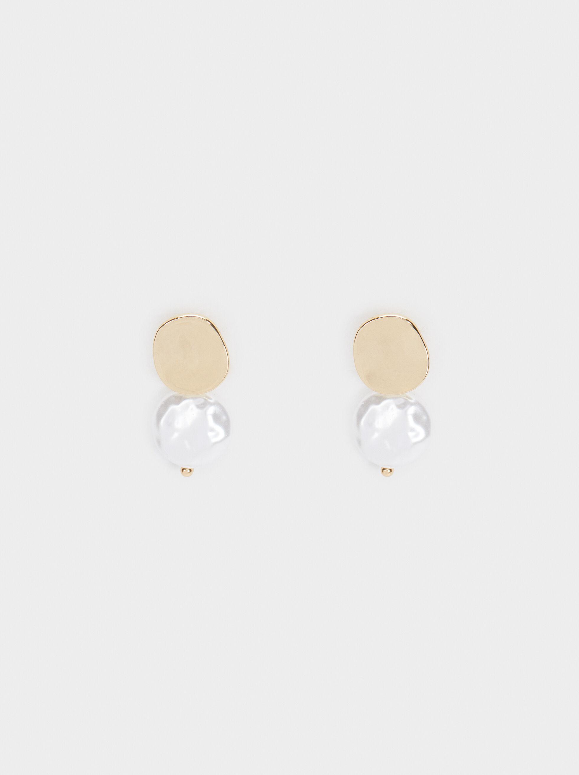 Short Gold Faux Pearl Earrings, Golden, hi-res