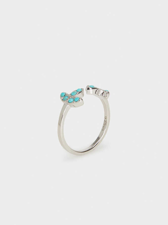 Silver 925 Ring With Crystals, Blue, hi-res