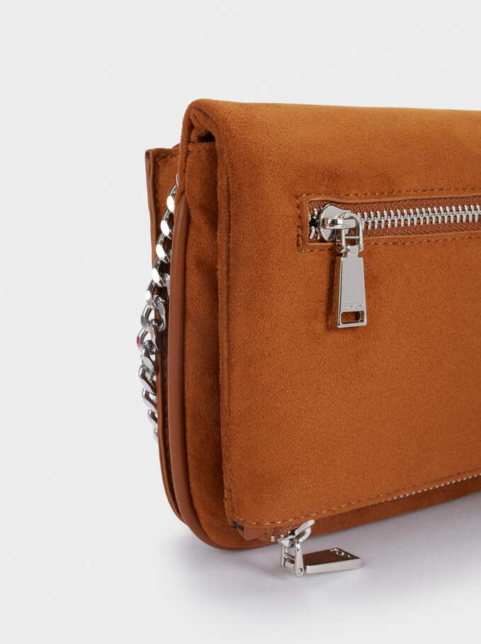 Textured Faux Suede Crossbody Bag With Removable Strap, Camel, hi-res