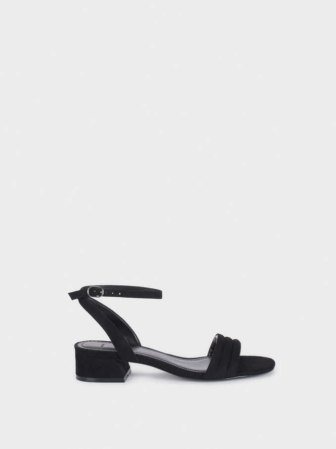 Low-Heel Sandals With Straps, Black, hi-res