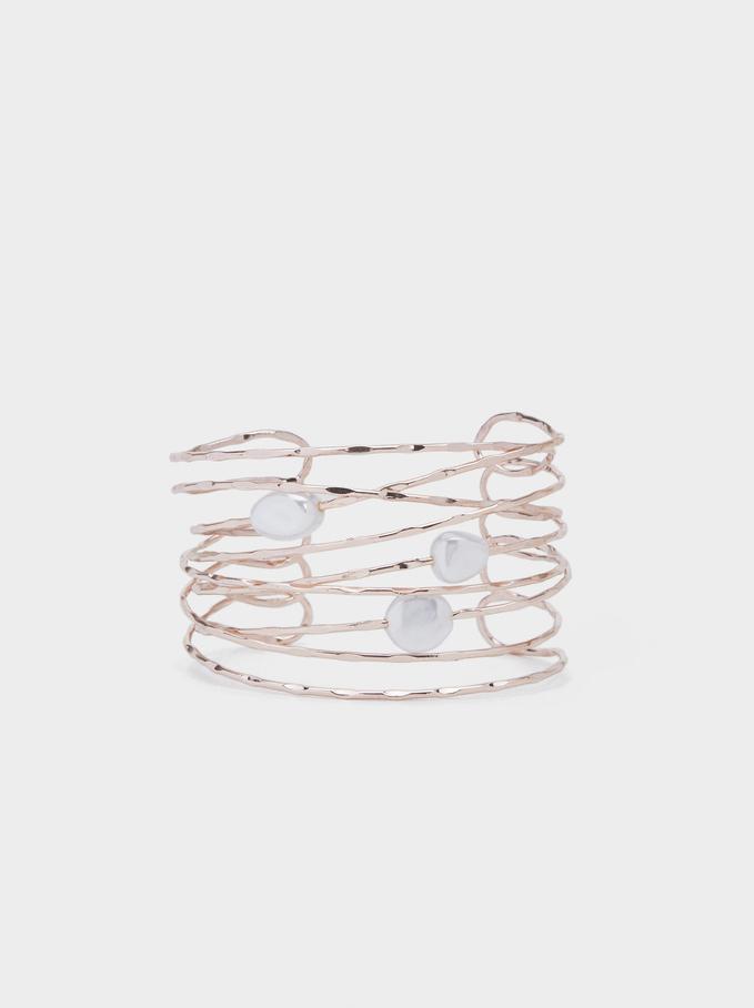 Pink Desert Faux Pearl Bracelet, Orange, hi-res