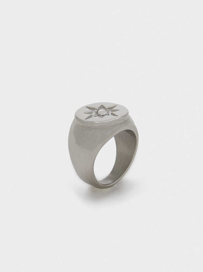 Silver Steel Signet Ring With Star Detail, Silver, hi-res