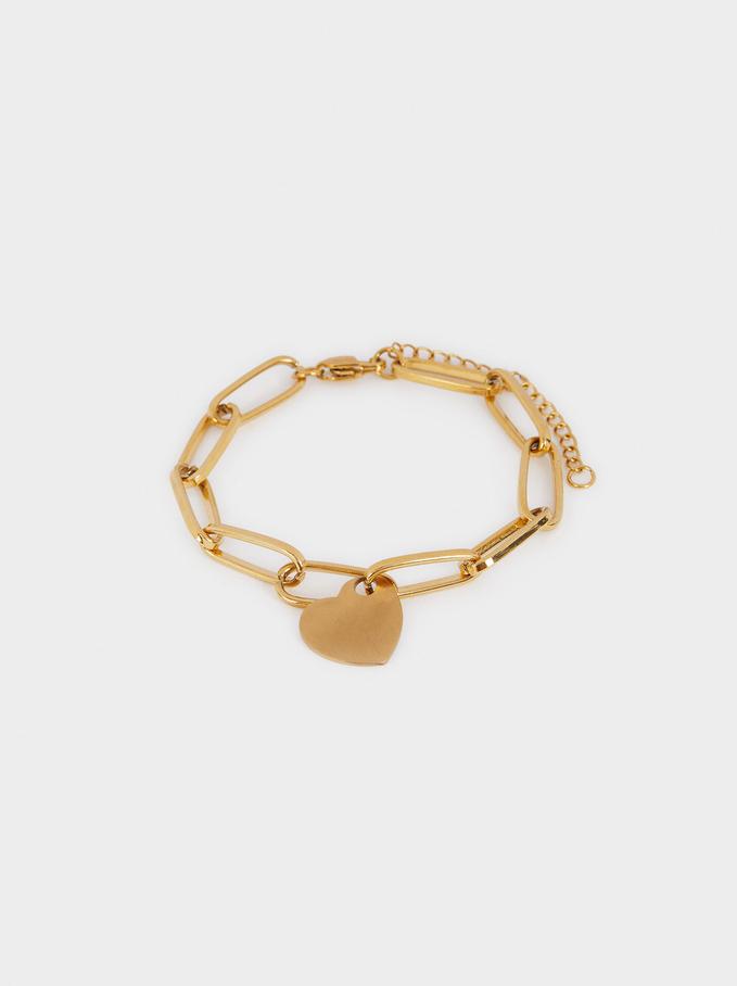Bracelet En Acier Et Cœur Doré, Doré, hi-res