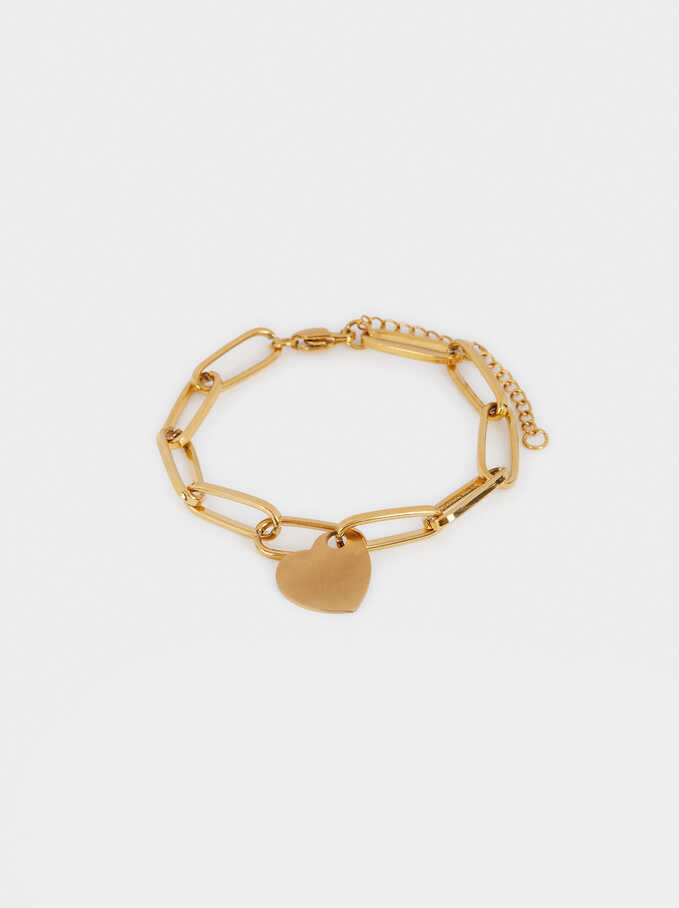 Stainless Steel Bracelet With Golden Heart, Golden, hi-res