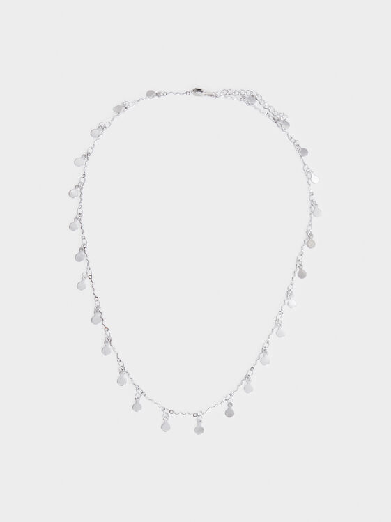 Steel Short Necklace With Pendants, Silver, hi-res