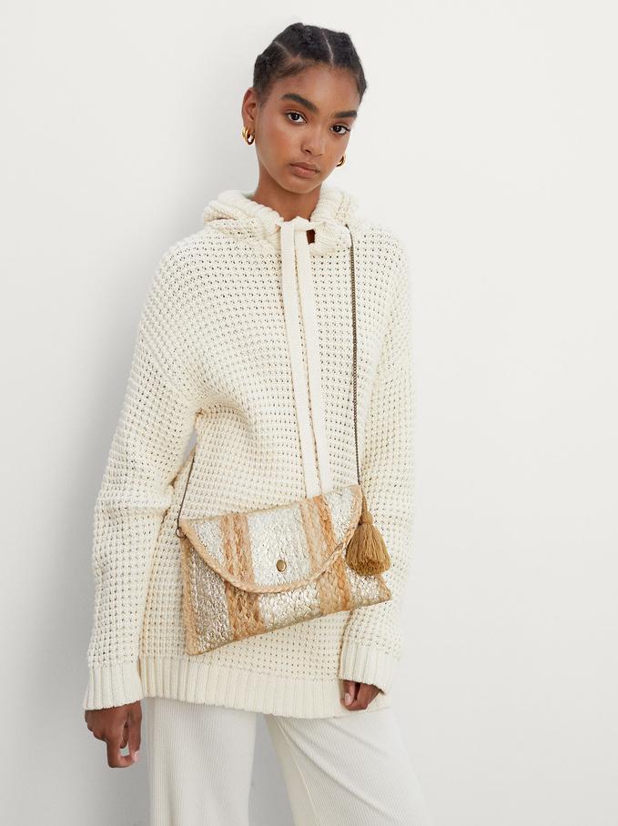 Jute Crossbody Bag With Chain Handle, Beige, hi-res