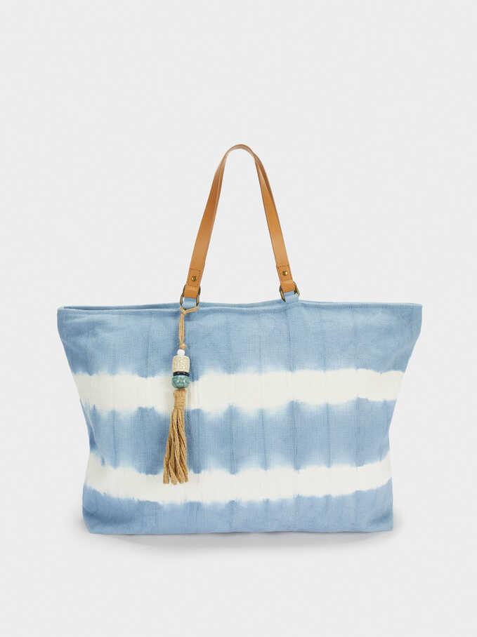 Bolso Shopper Tie-Dye Con Borla, Azul, hi-res
