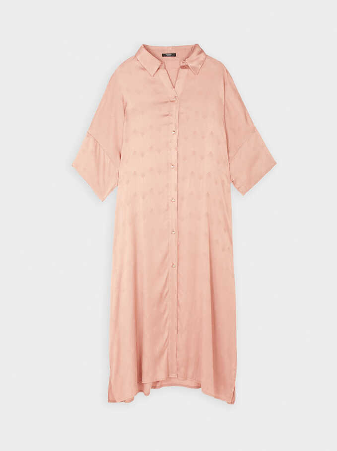 Flowing Printed Shirt-Dress, Pink, hi-res