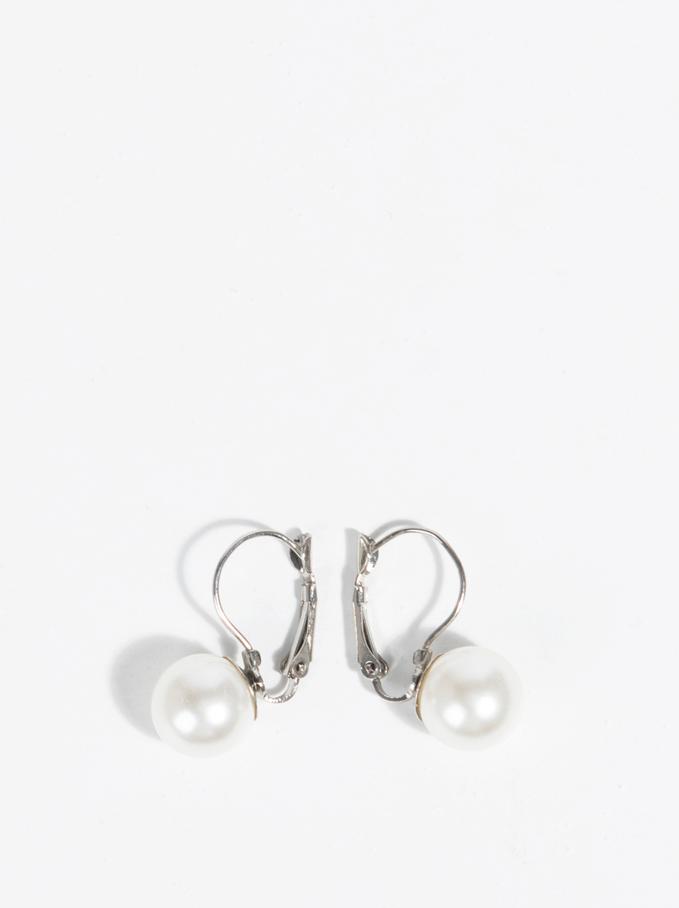 Basic Short Earrings, Beige, hi-res