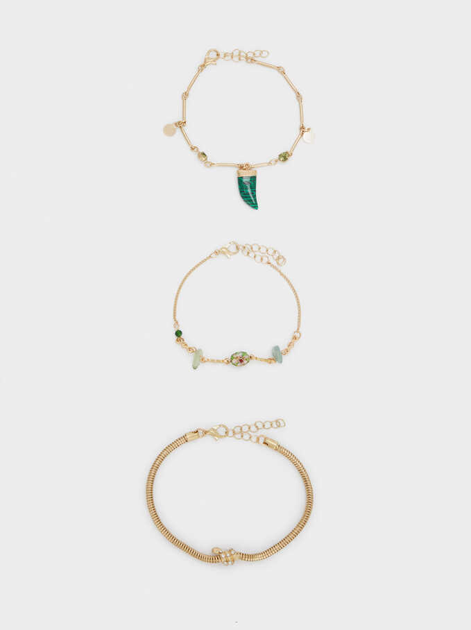 Set Of Gold Bracelets With Stones, Multicolor, hi-res